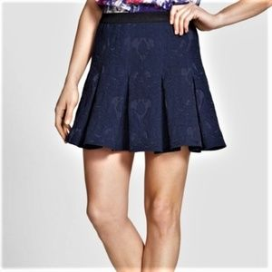 Rebecca Taylor Navy Textured Pleated Skirt
